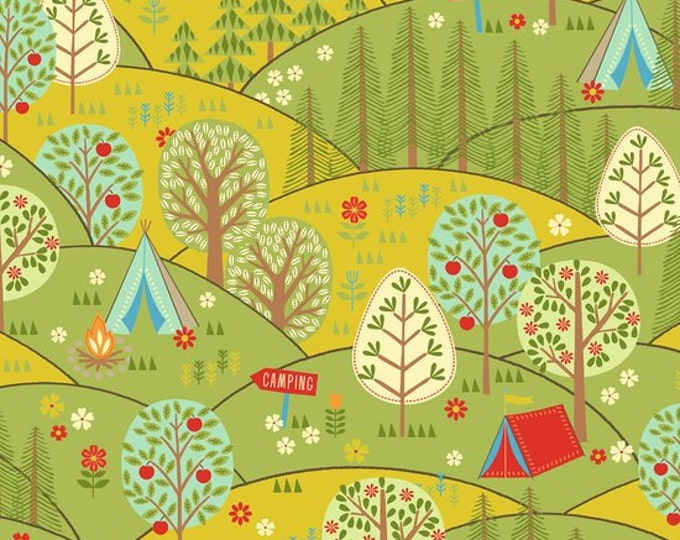 CLEARANCE -   Quilting Treasures Camp Cozy Green Tree Scenic 1 Yard Cotton Woven