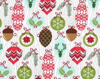 Michael Miller Fabrics - Rustique Winter -  Snow Trimmings cotton woven fabric