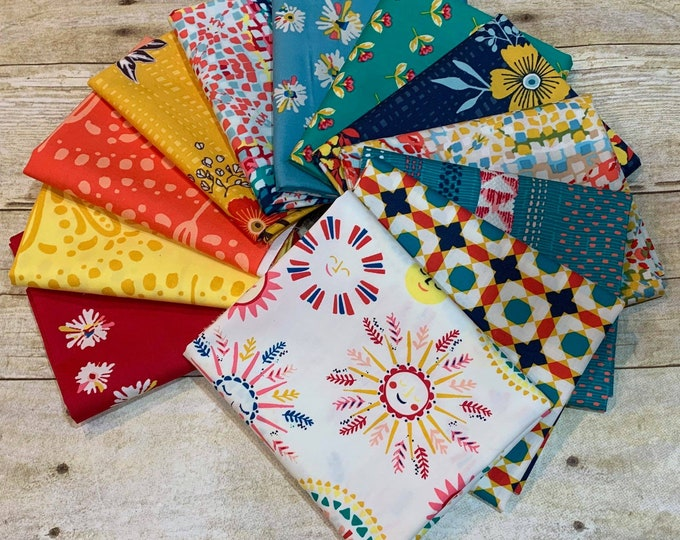 """Art Gallery Fabric  - Sun kissed - Bundle of 12 Fat Quarters (18"""" x 22"""")  - Cotton Woven Fabric"""