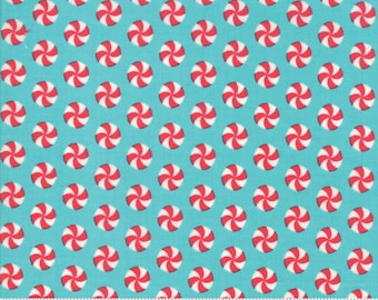 Moda Fabrics - Sweet Christmas by Urban Chiks -Peppermint Polka Dot Coolmint #31154 15 Cotton Woven Fabric