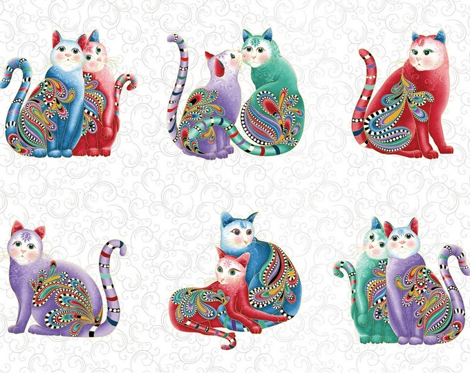 Ann Lauer - Cat-I-Tude 2 Purrfect Together - Purrfect - White - 24 Inch Metallic Cotton Woven Fabric Panel - Benartex 7551MB-09