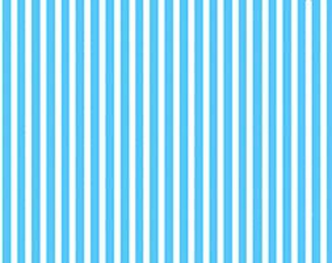 CLEARANCE -   Quilting Treasures Gumdrops and Lollipops Blue Stripe Coordinate Cotton Woven 1 yard