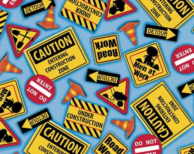 Quilting Treasures, Dig It Construction Signs on Blue Cotton Woven by Quilting Treasures