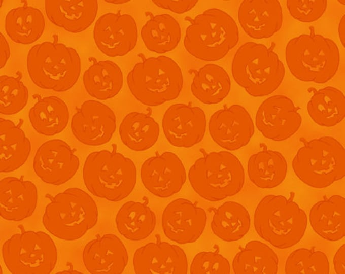 CLEARANCE -      Quilting Treasures - More Brew Ha Ha - Orange Pumpkin Toss Fabric Cotton Woven Fabric -  1 yard listing