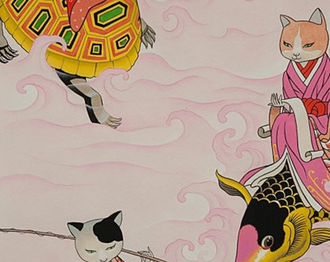 Alexander Henry Fabric - Feline Fishermen - Pink - Cotton Woven Fabric