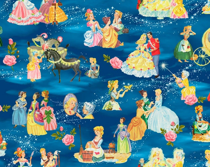 David Textiles - Vintage Storybooks from Four Seasons - Cinderella's Tale Allover # BW01700C1 - Cotton Woven Fabric