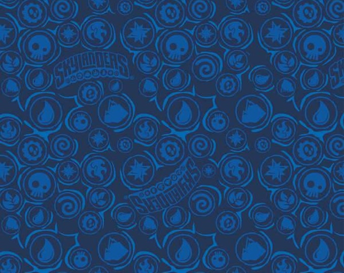Royal Skylanders Icons Blue Cotton Fabric by Camelot Fabrics