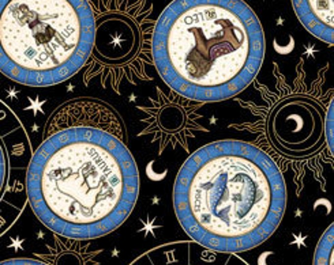 Quilting Treasures Fabrics - Intergalactic by Dan Morris - Zodiac Medallions - Black - Cotton Woven Fabric