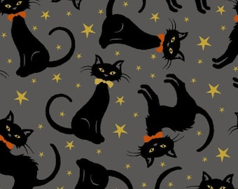 Henry Glass - Midnight Spell by First Blush Studio - Metallic Cats on Gray - Cotton Woven Fabric