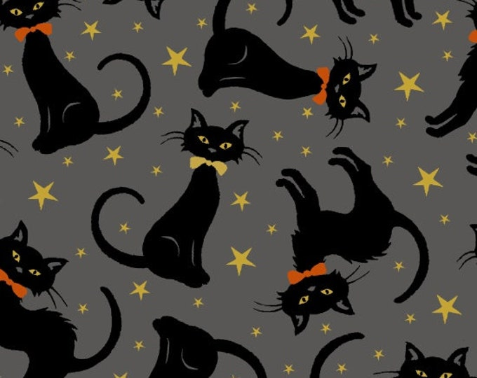Midnight Spell - Metallic Cats on Gray - Cotton Woven