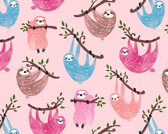 Timeless Treasures Sloths Fun on Pink C6611-Pink Cotton Woven Fabric