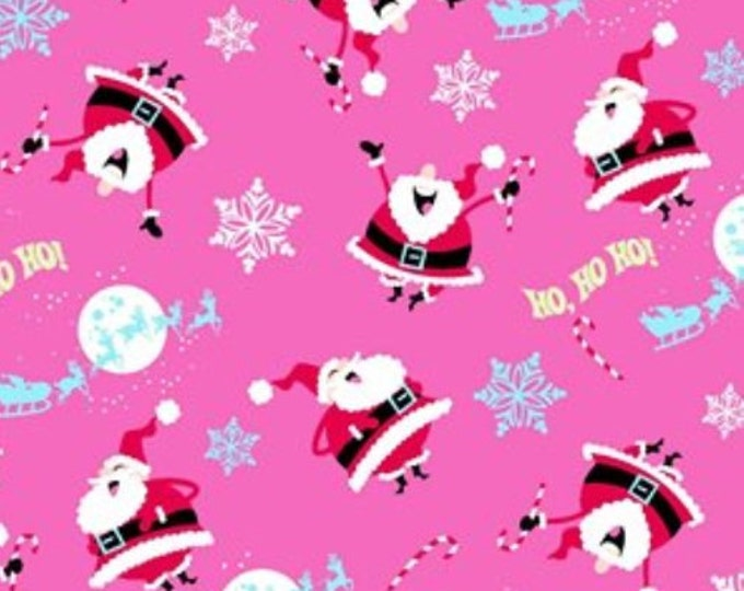 CLEARANCE -     Santa Ho Ho Ho Pink and Aqua - Price per yard