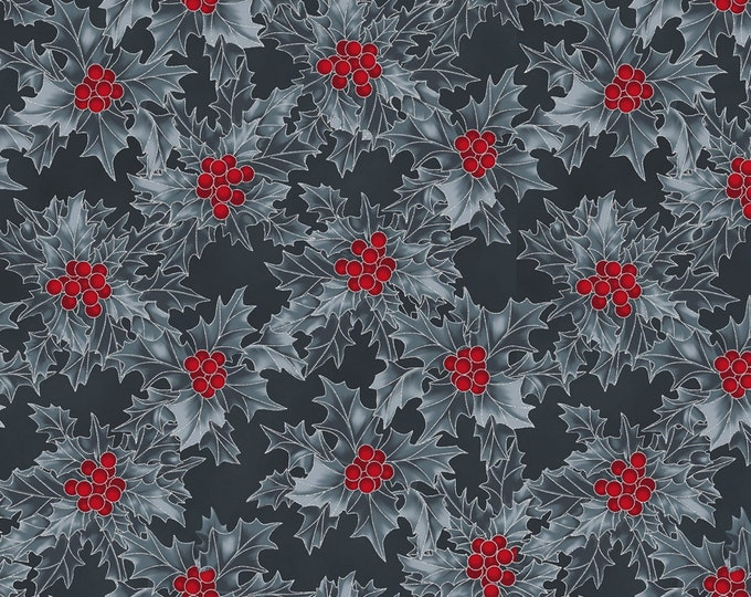 Hoffman Cardinal Carols - Holly with Red Berries Charcoal - Metallic Cotton Woven Fabric