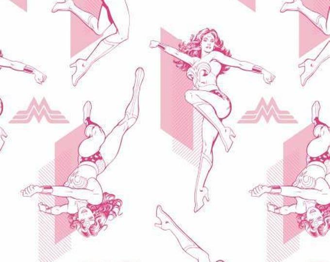 Camelot Fabric - Wonder Woman -  Pink Outline Cotton Woven Fabrics