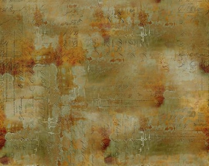 Free Spirit - Eclectic Elements - Abandoned by Tim Holtz - Writing Specimen - Sienna PWTH135.SIENNA - Cotton Woven Fabric