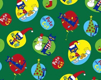 Marcus Brothers Fabric - Pete the Cat - Christmas on Green - Licensed  Cotton Woven Fabric
