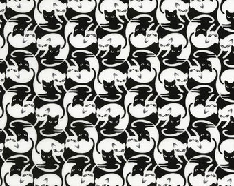 Timeless Treasures - Black Intertwined Cats - Cotton Spandex Knit