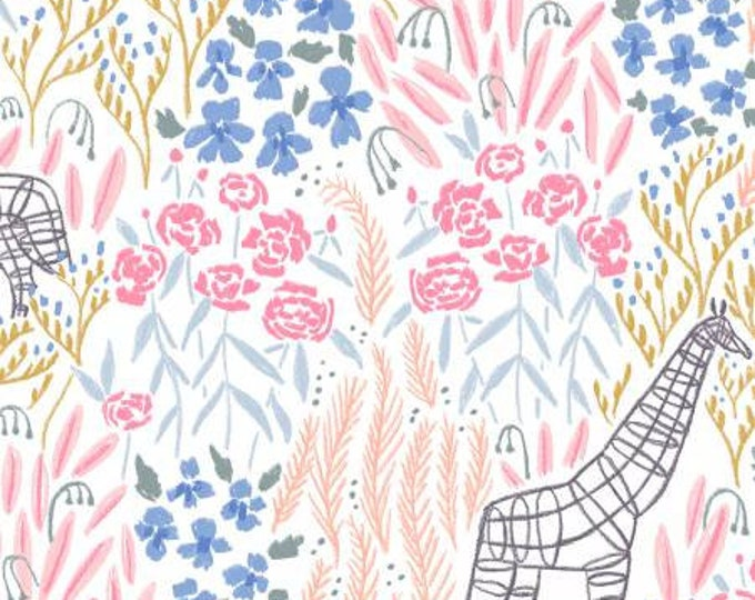Dear Stella Fabric - Royal Picnic by Rae Ritchie - White Topiary Giraffe and Floral cotton fabric