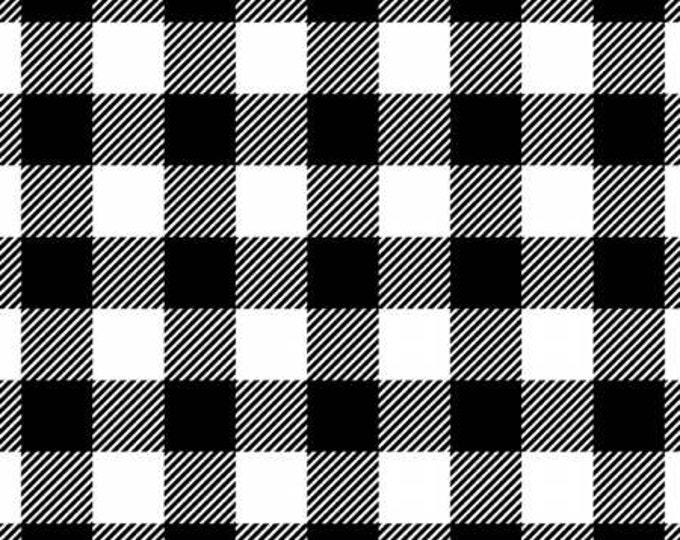 Black/White Buffalo Plaid Flannel - 100% Cotton Flannel by David Textiles