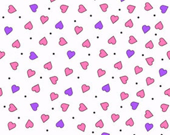 Quilting Treasures - Party Like a Unicorn from Desiree's Designs - White Tiny Hearts 26916Z Cotton Woven Fabric