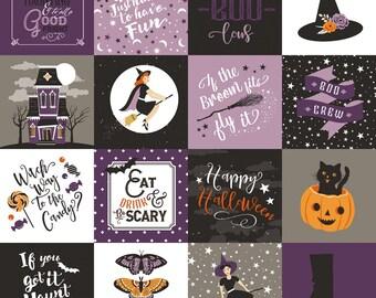 "Riley Blake - Fab-Boo-Lous Witches by Dani Mogstad - Main Purple #C8170R-PURPL (Blocks are 3"" X 3"")  Cotton Woven Fabric"
