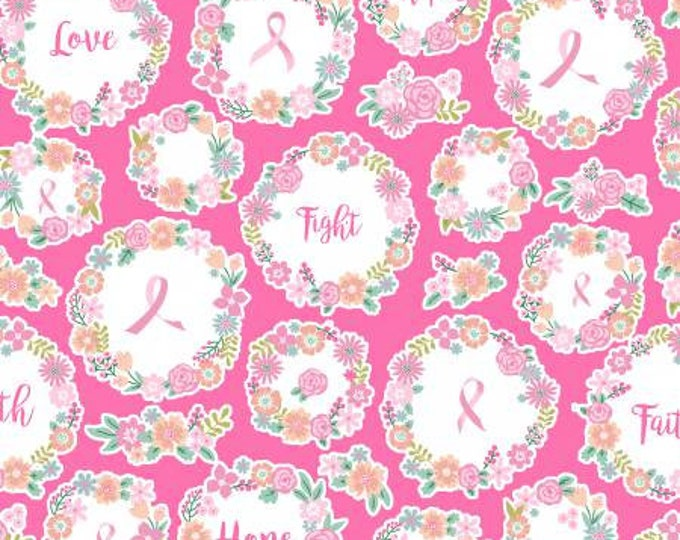 Windham Fabric - I Believe in Pink by Rosemarie Lavin Design -  Pink Faith, Hope, and Love, Pink Ribbon Cotton Woven Fabric