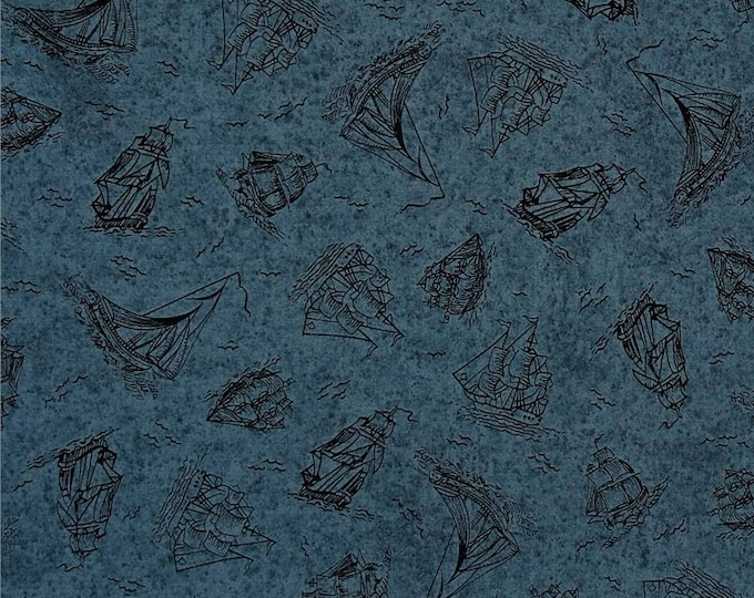 Sea Treasures, Slate Blue Sailboats  Cotton Woven Fabric by Quilting Treasures