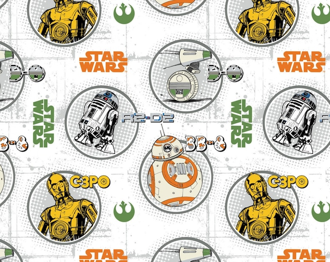 Camelot Fabrics - Licensed Star Wars - Droid Circle Portraits White # 73090214-1 - Cotton Woven Fabric
