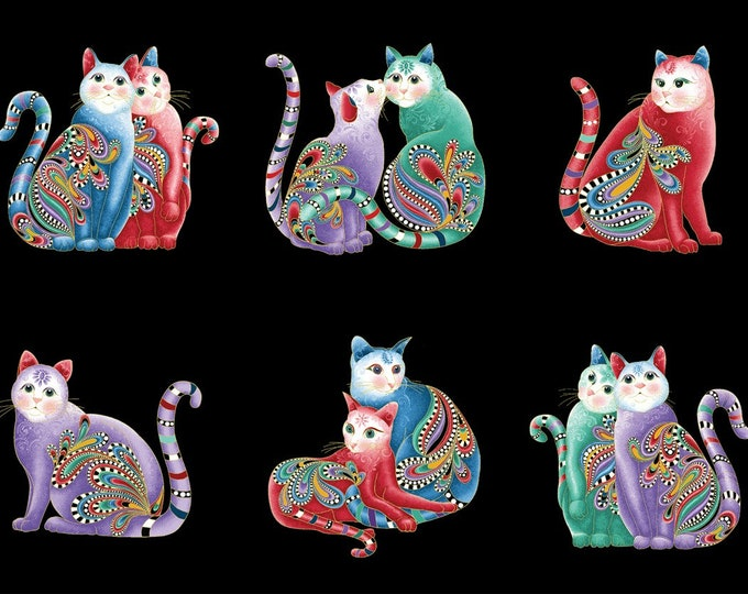 Ann Lauer - Cat-I-Tude 2 Purrfect Together -Purrfect - Black - 24 Inch Metallic Cotton Woven Fabric Panel - Benartex 7551MB-12