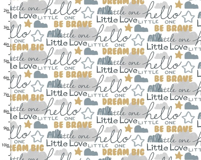 3 Wishes Fabric - Little Lion - Words # 16060-WHT - Cotton Woven Fabric