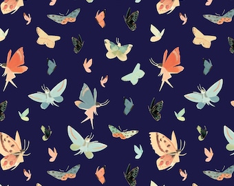 Riley Blake Designs - Dream World by Emily Winfield Martin - Butterflies Navy # C9084R-NAVY - Licensed Cotton Woven Fabric