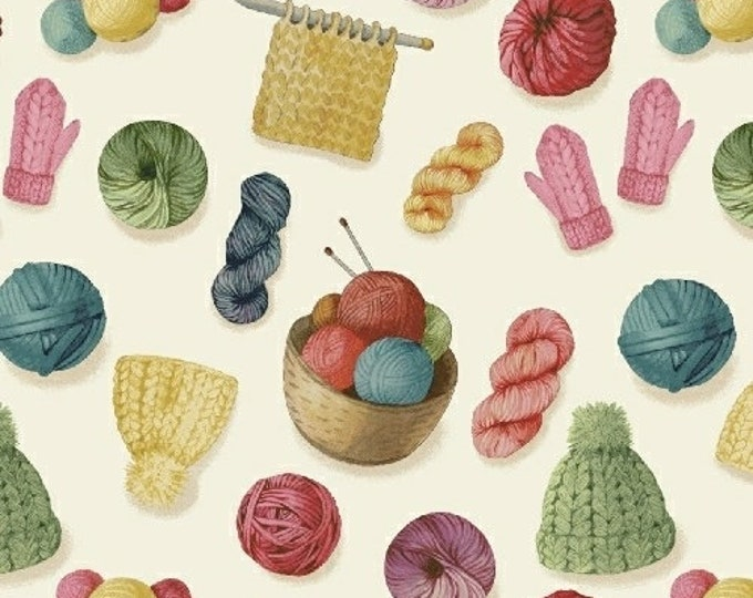Windham Fabrics - Knit and Purl - White Yarn in Baskets 51606-2  - Cotton Woven Fabric