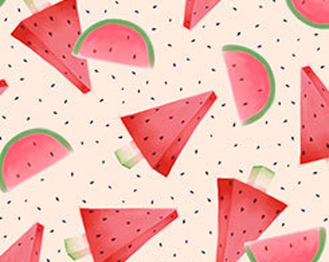 Quilting Treasures - Melon Drop - Santoro Gorjus Watermelon on Pale Pink Cotton Woven Fabric