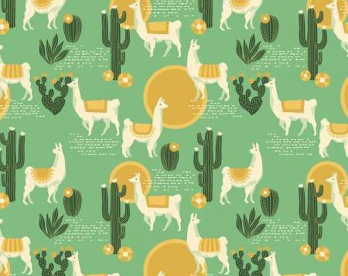 Florabelle Lingering Llamas Taos Green and Mustard Cotton Woven, Joel Dewberry