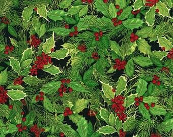 Robert Kaufman Fabrics - Holly Jolly Christmas - Holly - Black  AMK-15179-2 Cotton Woven Fabric