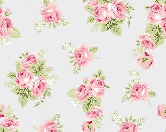 RIley Blake Designs - Love Story Gray Cotton Spandex Knit fabric