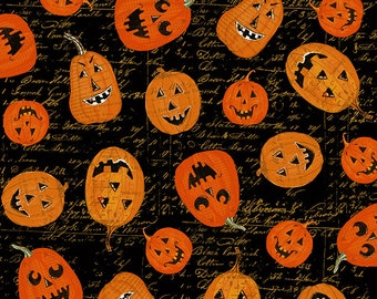 Clothworks - Something Wicked - Pumpkins on Black Script  y2426-3 Cotton Woven Fabric