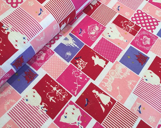 LECIEN - Princess Pink and Red Blocks Lightweight Cotton Canvas One Yard Increments