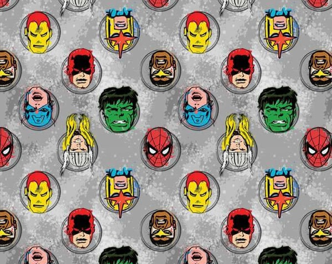 Camelot Fabrics Super Hero Sketch Heads on Gray Cotton Woven by the Yard Listing