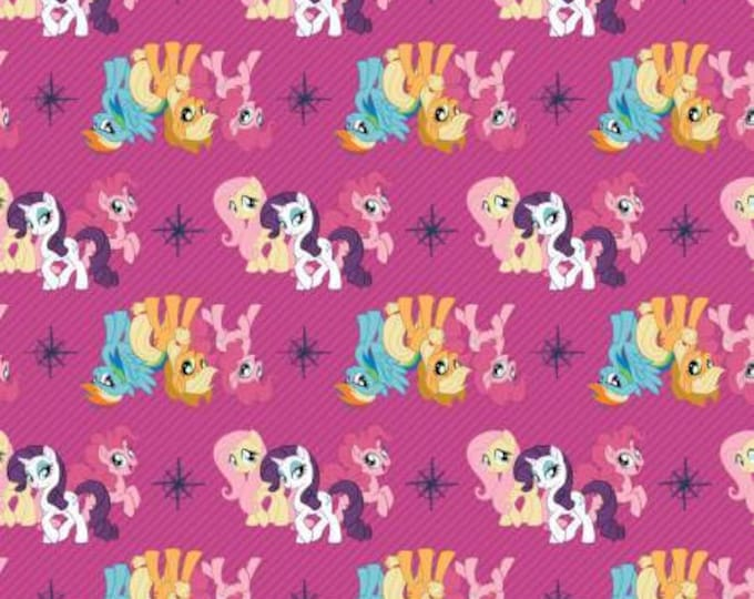 Magenta My Little Pony Friends Digital Cotton Woven