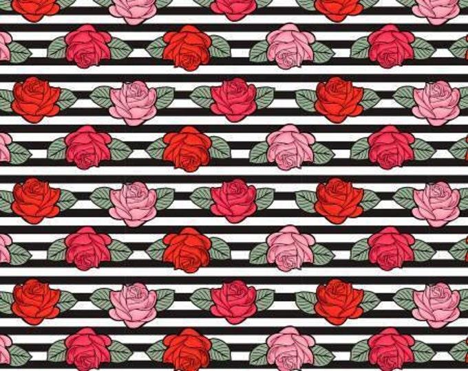 David Textiles - Punk Sugar Skulls - Roses on Black Stripes Cotton Woven Fabric