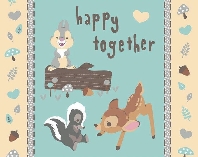 CLEARANCE -      Disney's Bambi Happy Together Aqua and Beige Cotton Woven panel