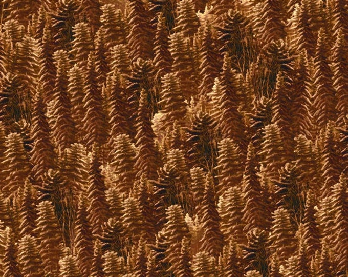 CLEARANCE -      Silent Flight Brown Trees Cotton Woven by Quilting Treasures  - Price per yard