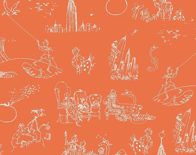 James & the Giant Peach - Toile - Orange - Cotton Woven Fabric - Riley Blake Designs