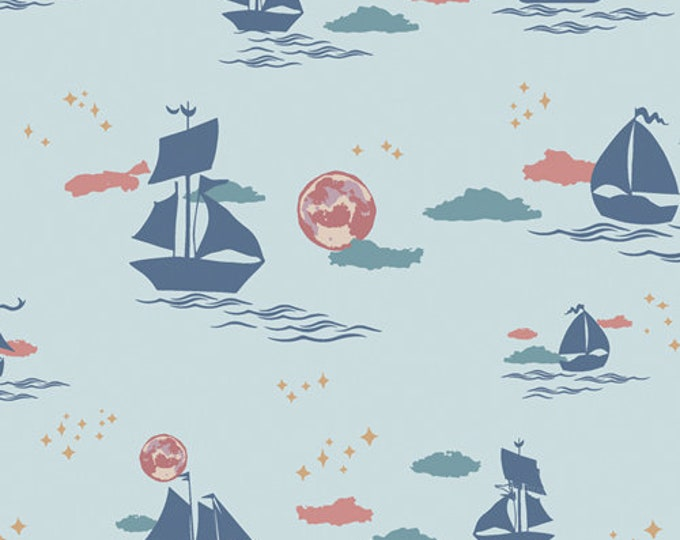 CLEARANCE - Art Gallery Fabric - Enchanted Voyage by Maureen Cracknell - Offshore Dream Breeze ENV-71785 Cotton Woven Fabric- Price per Yard