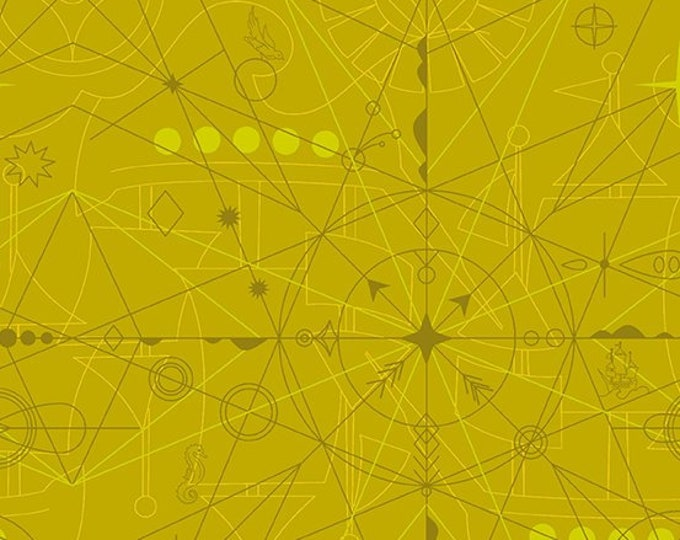 Andover Fabric - Sunprint 2018 byAlison Glass -  Compass Chartruese A 8673 Y cotton woven fabric