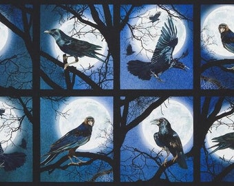 "Kaufman Raven Moon -  24"" Panel #AWHD-18484-282 SPOOKY Cotton Woven Fabric"