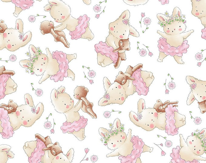 Timeless Treasures - Tossed Bunny and Her Bear #Bunnies-C7245-White Cotton Woven Fabric