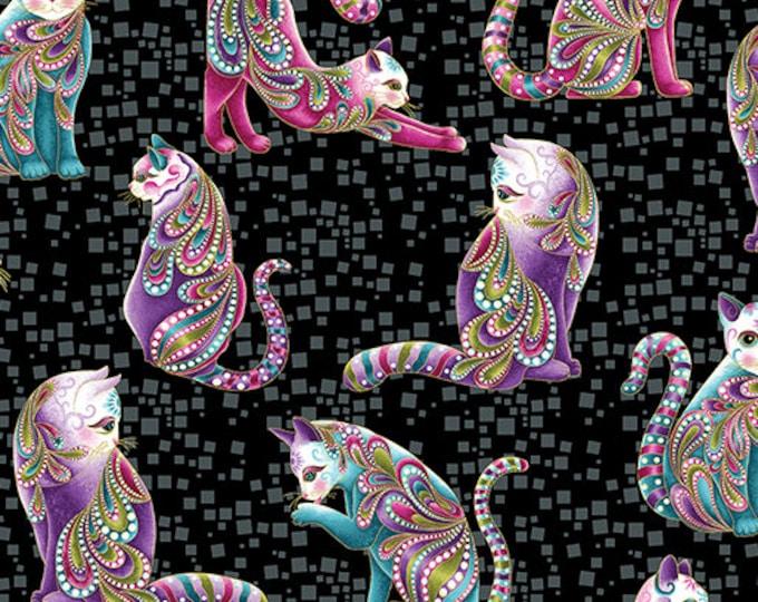 Benartex Fabrics - Cat-i-tude - Artisto Cats on Black  Cotton Woven Fabric