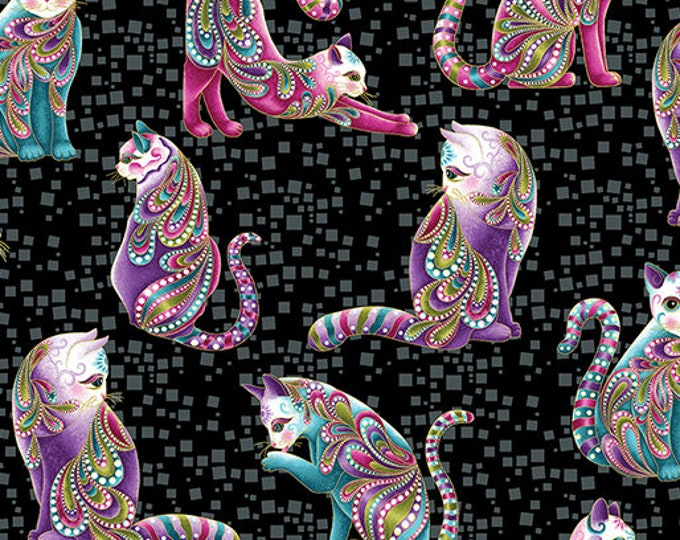 Cattitude - Artisto Cats on Black - Benartex - Cotton Woven Fabric